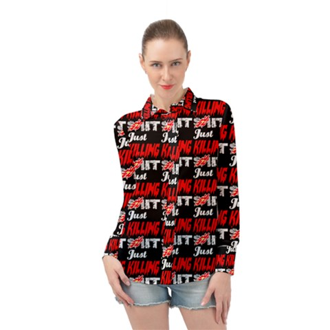 Just Killing It - Silly Toilet Stool Rocket Man Long Sleeve Chiffon Shirt by DinzDas