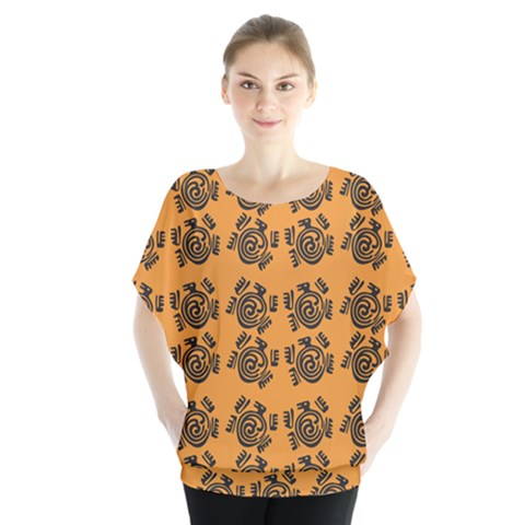 Inka Cultur Animal - Animals And Occult Religion Batwing Chiffon Blouse by DinzDas
