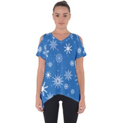 Winter Time And Snow Chaos Cut Out Side Drop Tee by DinzDas