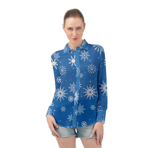 Winter Time And Snow Chaos Long Sleeve Chiffon Shirt by DinzDas