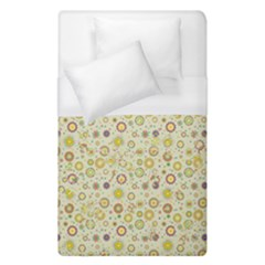 Abstract Flowers And Circle Duvet Cover (single Size) by DinzDas