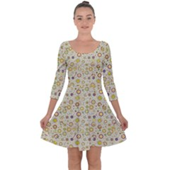 Abstract Flowers And Circle Quarter Sleeve Skater Dress