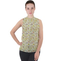 Abstract Flowers And Circle Mock Neck Chiffon Sleeveless Top by DinzDas