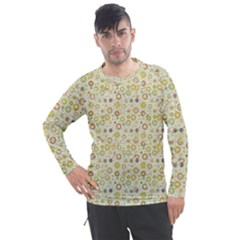 Abstract Flowers And Circle Men s Pique Long Sleeve Tee