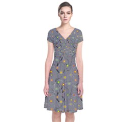 Abstract Flowers And Circle Short Sleeve Front Wrap Dress by DinzDas