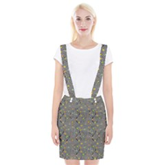 Abstract Flowers And Circle Braces Suspender Skirt