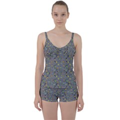 Abstract Flowers And Circle Tie Front Two Piece Tankini by DinzDas