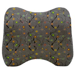 Abstract Flowers And Circle Velour Head Support Cushion by DinzDas