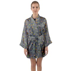 Abstract Flowers And Circle Long Sleeve Satin Kimono by DinzDas