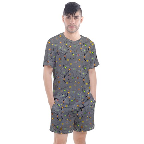 Abstract Flowers And Circle Men s Mesh Tee And Shorts Set by DinzDas