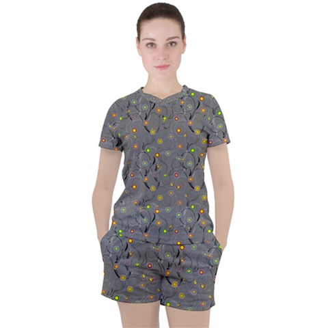 Abstract Flowers And Circle Women s Tee And Shorts Set by DinzDas