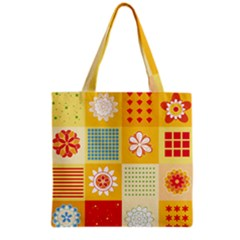 Abstract Flowers And Circle Grocery Tote Bag by DinzDas