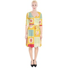 Abstract Flowers And Circle Wrap Up Cocktail Dress