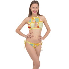 Abstract Flowers And Circle Cross Front Halter Bikini Set by DinzDas