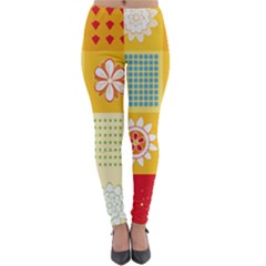 Abstract Flowers And Circle Lightweight Velour Leggings by DinzDas