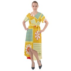 Abstract Flowers And Circle Front Wrap High Low Dress by DinzDas