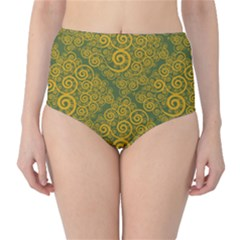 Abstract Flowers And Circle Classic High-waist Bikini Bottoms by DinzDas