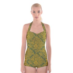 Abstract Flowers And Circle Boyleg Halter Swimsuit