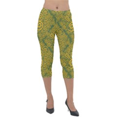 Abstract Flowers And Circle Lightweight Velour Capri Leggings  by DinzDas