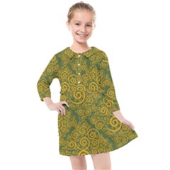 Abstract Flowers And Circle Kids  Quarter Sleeve Shirt Dress by DinzDas