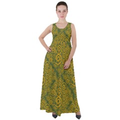 Abstract Flowers And Circle Empire Waist Velour Maxi Dress by DinzDas
