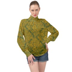 Abstract Flowers And Circle High Neck Long Sleeve Chiffon Top by DinzDas