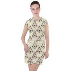 Abstract Flowers And Circle Drawstring Hooded Dress by DinzDas