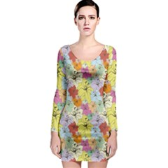 Abstract Flowers And Circle Long Sleeve Bodycon Dress by DinzDas