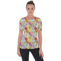 Abstract Flowers And Circle Shoulder Cut Out Short Sleeve Top