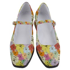 Abstract Flowers And Circle Women s Mary Jane Shoes by DinzDas