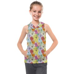 Abstract Flowers And Circle Kids  Sleeveless Hoodie by DinzDas