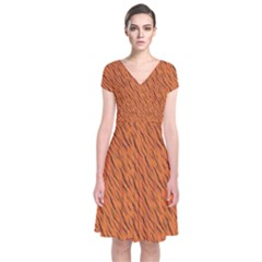 Animal Skin - Lion And Orange Skinnes Animals - Savannah And Africa Short Sleeve Front Wrap Dress by DinzDas