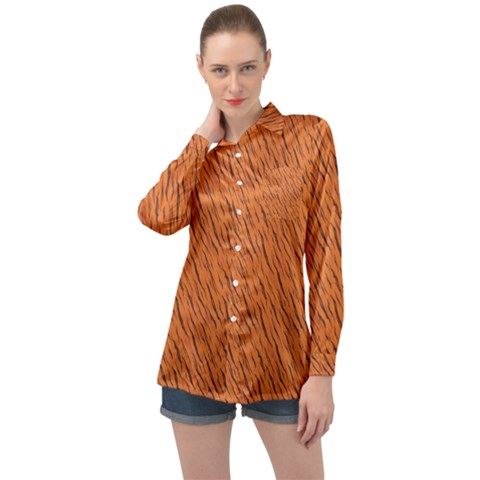 Animal Skin - Lion And Orange Skinnes Animals - Savannah And Africa Long Sleeve Satin Shirt by DinzDas