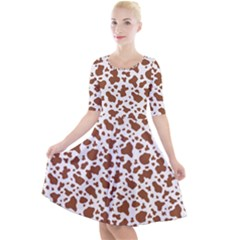 Animal Skin - Brown Cows Are Funny And Brown And White Quarter Sleeve A-line Dress