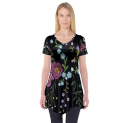 Embroidery-trend-floral-pattern-small-branches-herb-rose Short Sleeve Tunic  by Bejoart