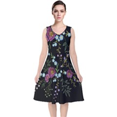 Embroidery-trend-floral-pattern-small-branches-herb-rose V-neck Midi Sleeveless Dress  by Bejoart