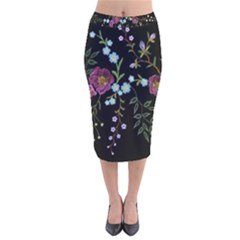 Embroidery-trend-floral-pattern-small-branches-herb-rose Velvet Midi Pencil Skirt