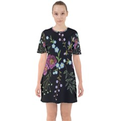 Embroidery-trend-floral-pattern-small-branches-herb-rose Sixties Short Sleeve Mini Dress by Bejoart