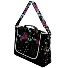 Embroidery-trend-floral-pattern-small-branches-herb-rose Box Up Messenger Bag by Bejoart