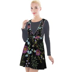 Embroidery-trend-floral-pattern-small-branches-herb-rose Plunge Pinafore Velour Dress