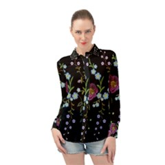 Embroidery-trend-floral-pattern-small-branches-herb-rose Long Sleeve Chiffon Shirt