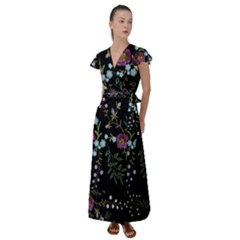 Embroidery-trend-floral-pattern-small-branches-herb-rose Flutter Sleeve Maxi Dress