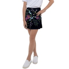 Embroidery-trend-floral-pattern-small-branches-herb-rose Kids  Tennis Skirt
