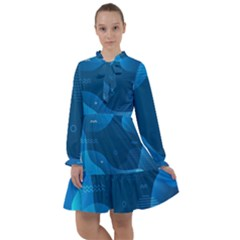 Abstract-classic-blue-background All Frills Chiffon Dress by Bejoart