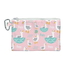 Cute-happy-duck-gift-card-design-seamless-pattern-template Canvas Cosmetic Bag (medium)