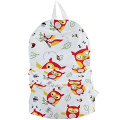 Seamless-pattern-vector-owl-cartoon-with-bugs Foldable Lightweight Backpack