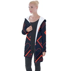 Gradient-geometric-shapes-dark-background-design Longline Hooded Cardigan