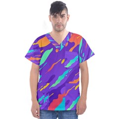 Multicolored-abstract-background Men s V-neck Scrub Top