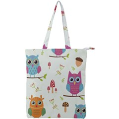 Forest-seamless-pattern-with-cute-owls Double Zip Up Tote Bag