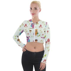 Forest-seamless-pattern-with-cute-owls Long Sleeve Cropped Velvet Jacket